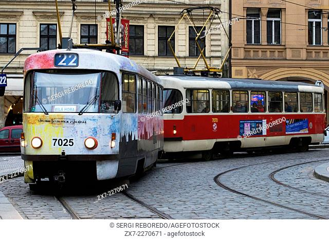 Czech Republic, Prague, View of tram on old town street, cobble stone