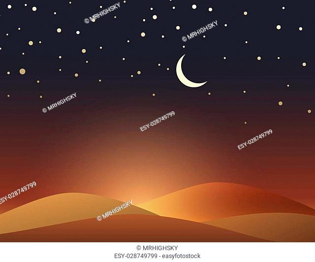 Desert evening scene with crescent and stars
