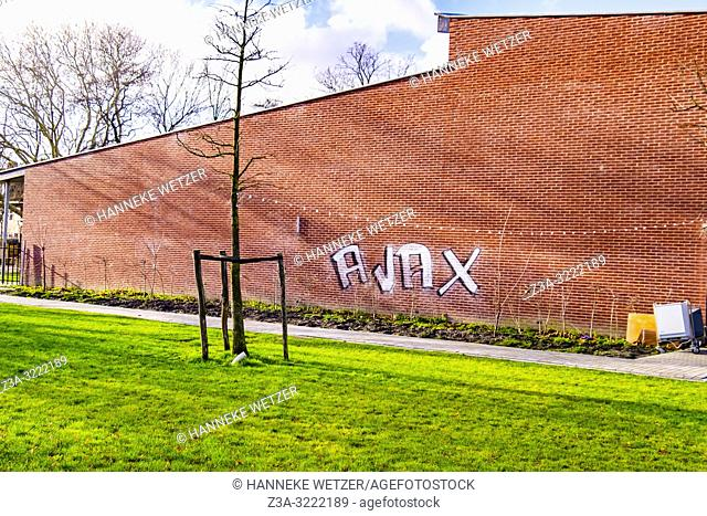 'Ajax' tagged on a wall in Amsterdam North, The Netherlands, Europe