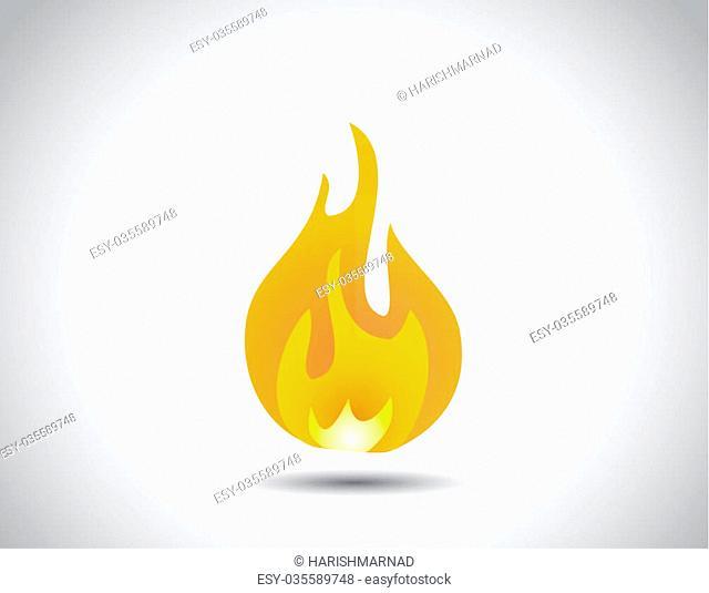 yellow orange red multi color fire icon concept design symbol. realistic multicolor fire symbol with bright white background - illustration unusual art