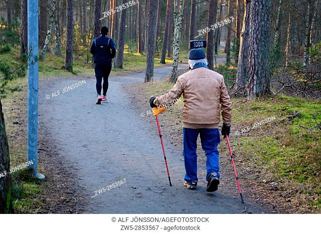 Two men, older and younger, exercising in a forrest in Ystad, Scania, Sweden