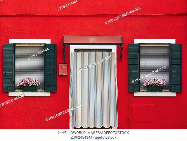 Red house, Burano, Venetian Lagoon, Veneto, Italy, Europe