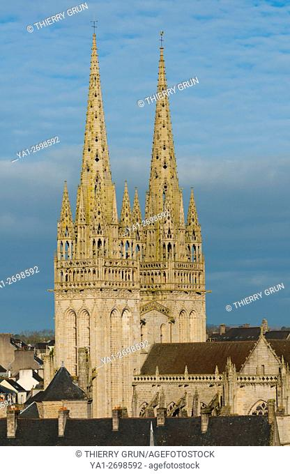 France, Finistere (29), Town of Quimper, cathedral Saint Corentin