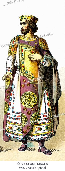 The illustration here highlights a Byzantine emperor between 800 and 1000 A.D. The illustration dates to 1882