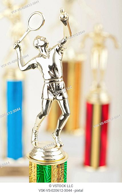 USA, Illinois, Metamora, Close up of shiny tennis trophy in shape of male player