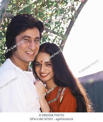 1980, Portrait of Indian film actor Shakti Kapoor and actress Shivangi Kapoor