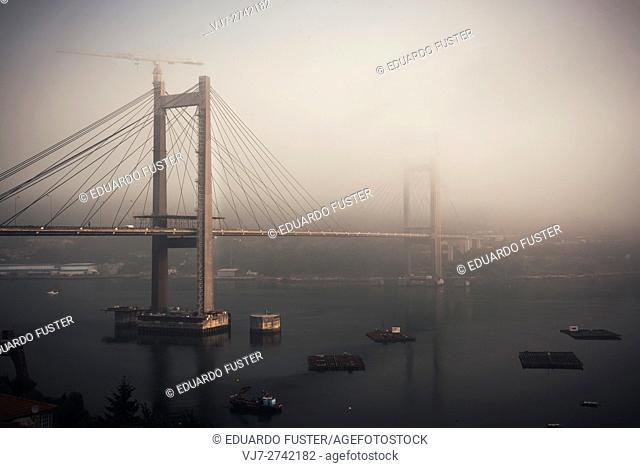 Rande bridge in a foggy morning