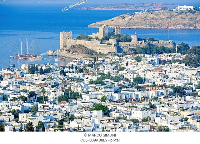 St Peter's Castle and Bodrum, elevated view, Bodrum, Turkey, Asia Minor, Asia