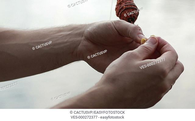 Fisherman's hands baiting fishing hook closeup