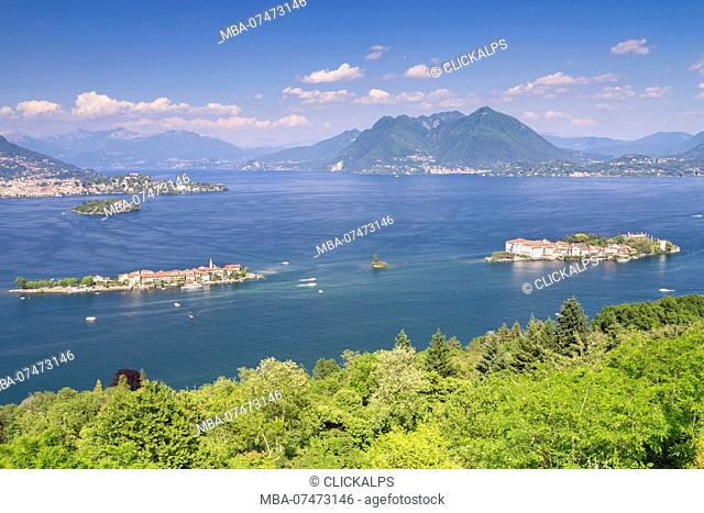 View of the Borromean Islands, Isola dei Pescatori, Isola Bella and Isola Madre, from a viewpoint over Stresa in a spring day, Verbano Cusio Ossola