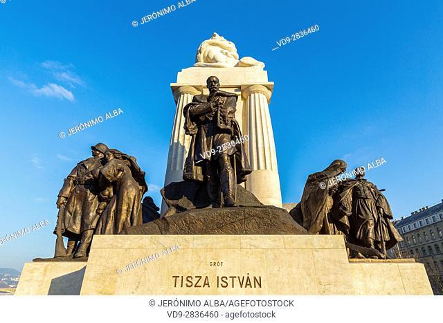 Istvan Tisza Statue monument. Budapest Hungary, Southeast Europe