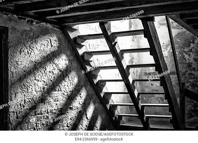 Interior basement steps detail of the 19th century Drayton Hall plantation near Charleston South Carolina