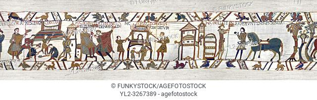 11th Century Medieval Bayeux Tapestry - Scene 46 - A watchman informs William of Harold armies movements. Scene 47 - Williams men burn down a house