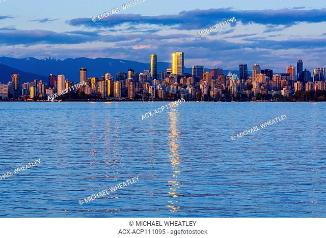 Vancouver skyline and English Bay, Vancouver, British Columbia, Canada
