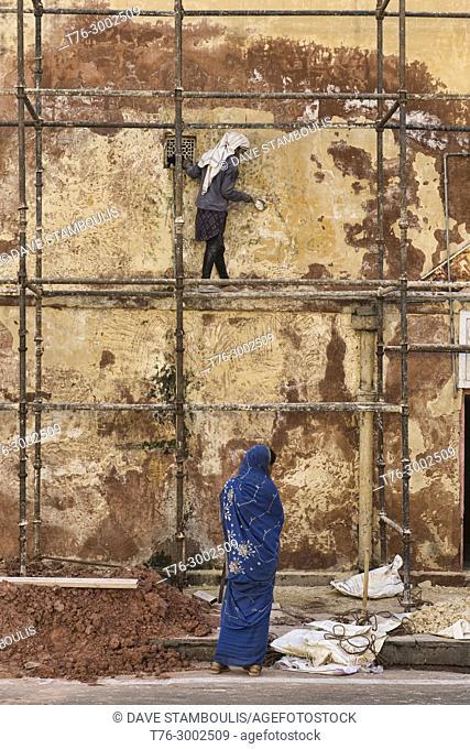 Female construction worker, Jaipur, India