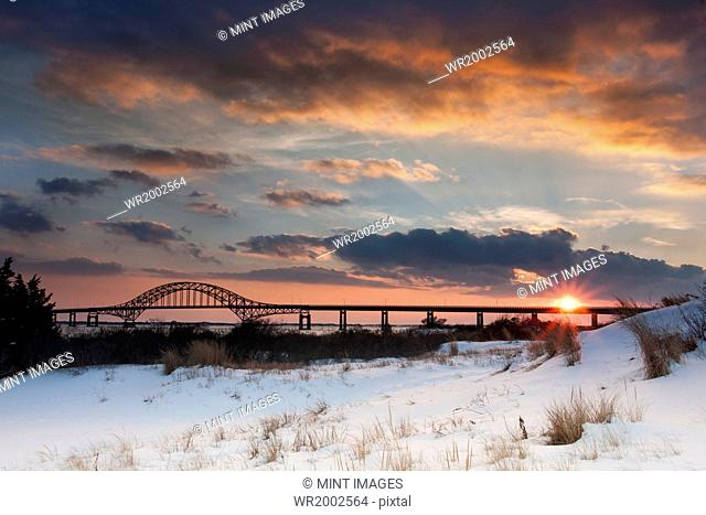 Winter sunset over the Robert Moses Causeway in New York