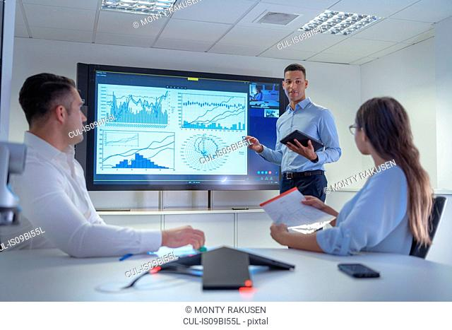 Man presenting business meeting with graphs, charts and video conferencing
