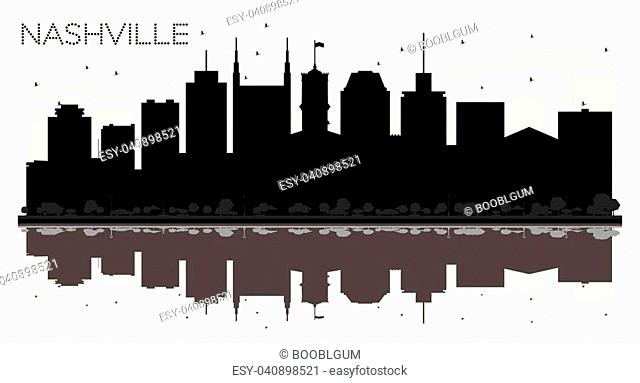 Nashville Tennessee USA City skyline black and white silhouette. Vector illustration. Business travel concept. Nashville Cityscape with landmarks