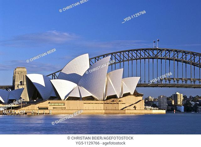 Sydney Opera House and Harbour Bidge at sunrise, New South Wales, Australia