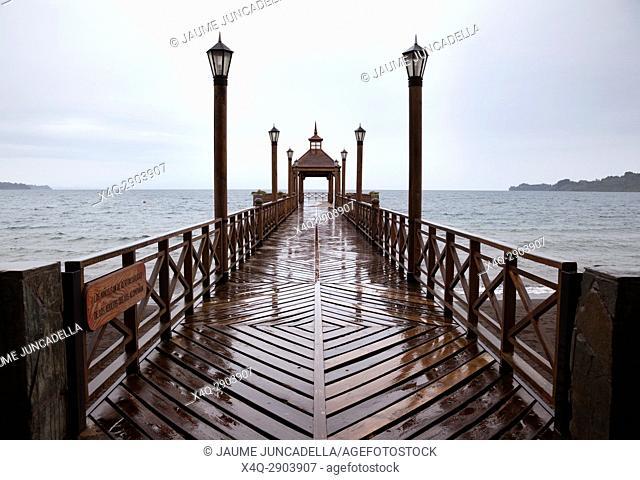 Bridge and Llanquihue Lake. Frutillar. Los Lagos Region. Chile