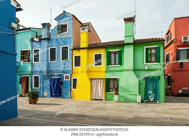 Colourful hosues on Burano island in Venice, Italy