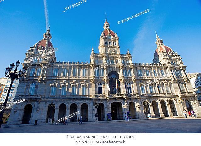 Council of A Coruña, Plaza de Maria Pita, La Coruna, Galicia, Spain, Europe