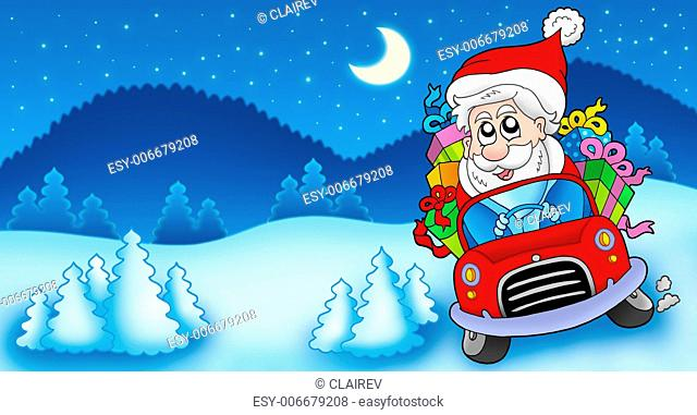 Landscape with Santa Claus driving car - color illustration