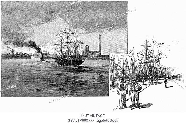 ships, dock, harbor, Buenos Aires, historical