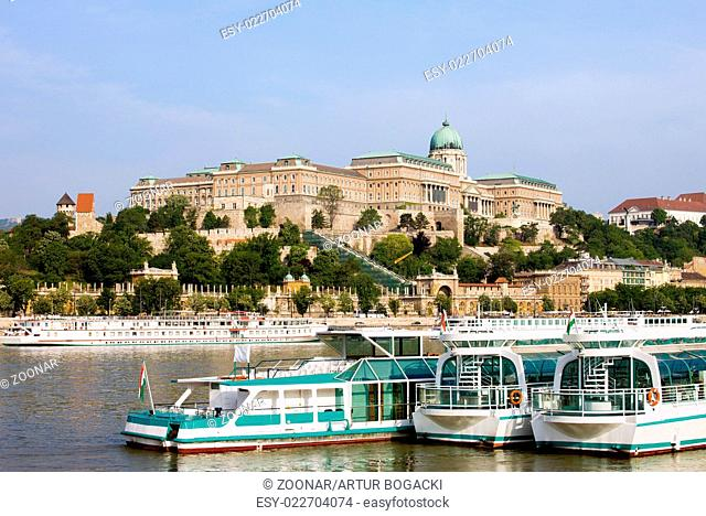 Buda Castle and Boats on Danube River