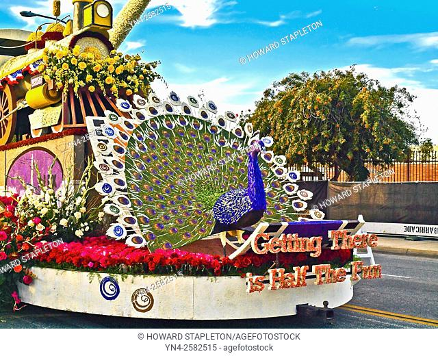 Portion of a 2016 Rose Parade float ''Getting there is half the fun'' on static display following the parade. Pasadena, California