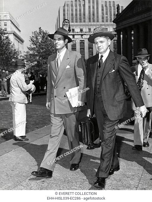 Alger Hiss and his lawyer, Edward McLean, leaving Federal Court on Oct 10, 1949. Hiss's second trial had just been adjourned until Nov 1st