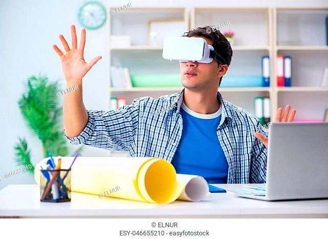 Young designer with virtual reality VR glasses