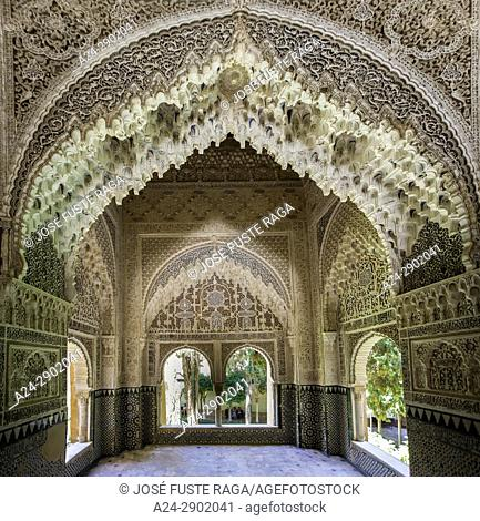 Spain, Andalucia, Granada City, The Alhambra, UNESCO (W. H. ),Court of Lions, Dos Hermanas Hall