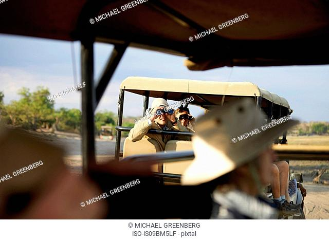 Tourists on safari tour, Kasane, North-West, Botswana
