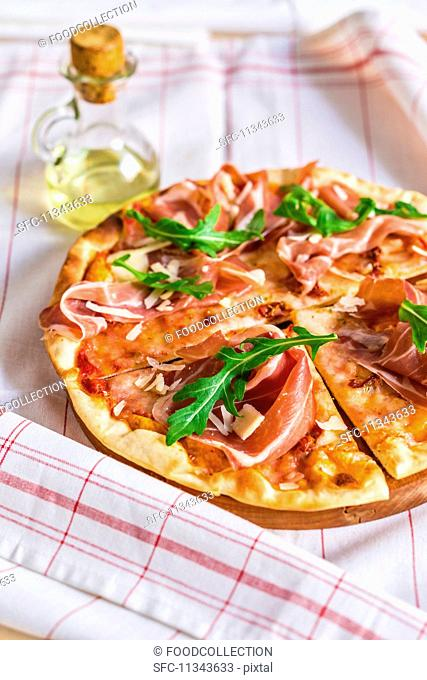 A Parma ham and rocket pizza