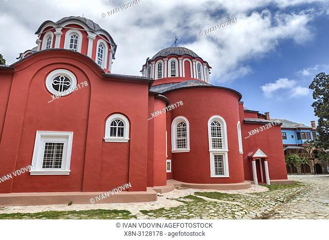 Katholikon, main church, Monastery of Great Lavra, Mount Athos, Athos peninsula, Greece