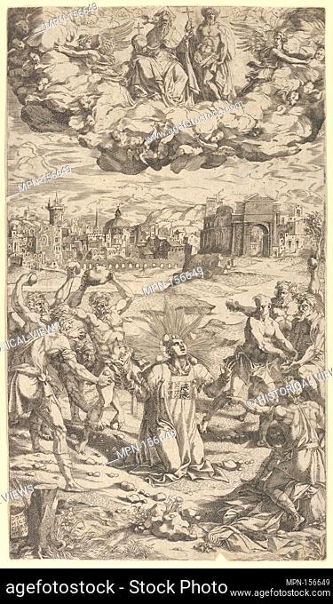 The Stoning of Saint Stephen. Artist: Domenico del Barbiere (Italian, Florence (?) 1506-1565 Paris); Medium: Engraving; Dimensions: Sheet: 10 11/16 x 6 1/8 in