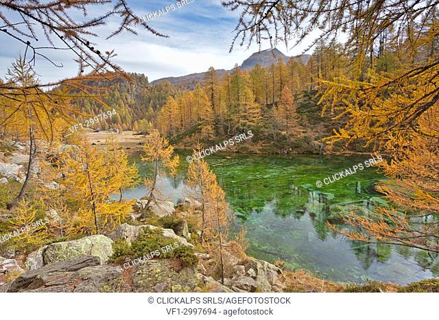 The small lake near Crampiolo known as Witches Lake, Alpe Veglia and Alpe Devero Natural Park, Baceno, Verbano Cusio Ossola province, Piedmont, Italy