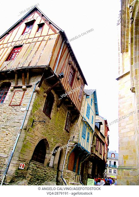 Colourful medieval houses in Vannes, Brittany, France.