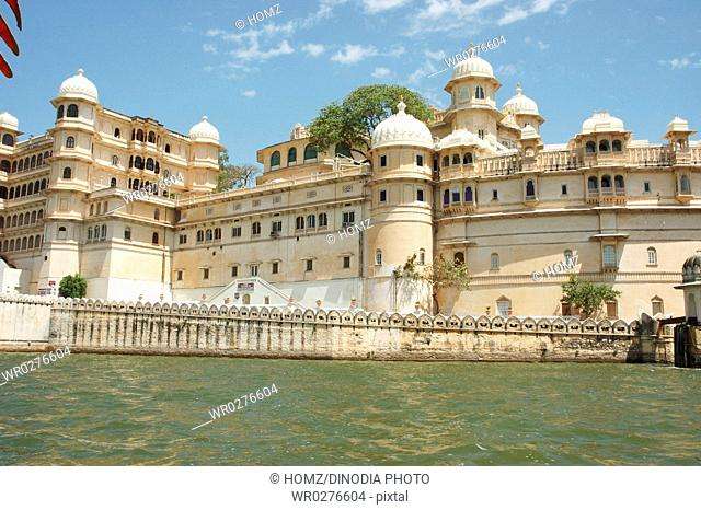 Western view of City Palace , Udaipur , Rajasthan , India