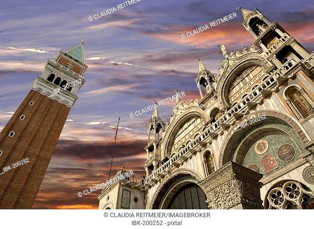 St. Mark's Square and Campanile Tower, Venice, Italy, Europe