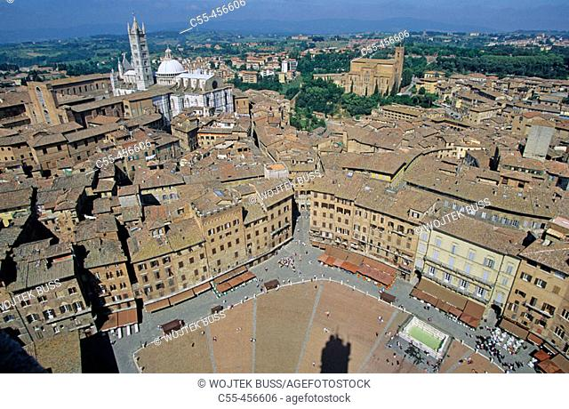 Piazza del Campo and cathedral in background, Siena. Tuscany, Italy