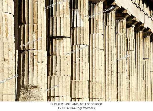 Detail of doric columns on the Temple of Hephaistos, on the site of the Ancient Agora, in central Athens, Greece