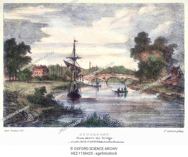 Stourport-on-Severn, Worcestershire, from above the bridge, c1795. On the left, where many masts are shown, is the entrance to the Staffordshire and Worcester...