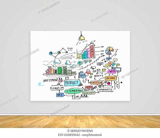 Hanging white banner with sketch of business project