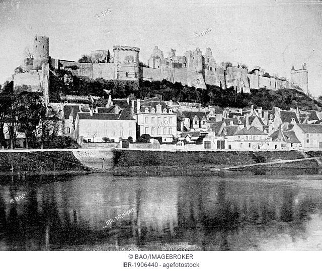 Early autotype of the Chateau de Chinon castle, Département Indre-et-Loire, France, 1880