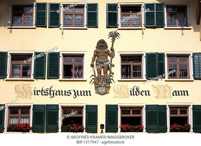 Window facade, Wirtshaus zum Wilden Man restaurant, pedestrian area, Kaiserstrasse in Waldshut, Baden-Wuerttemberg, Germany, Europe