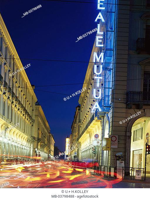 Italy, Piemont, Turin, via Roma,  Illumination, light tracks, twilight  Europe, North Italy, sight, arcade, houses, buildings, arcades, architecture