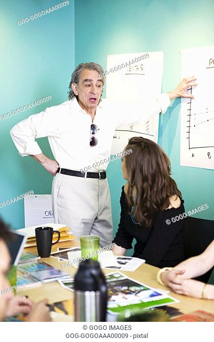 Businessman giving presentation with hand on hip