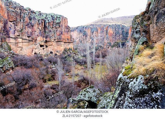 View of the valley. Turkey, Central Anatolia, Nevsehir Province, Cappadocia, Ihlara Valley
